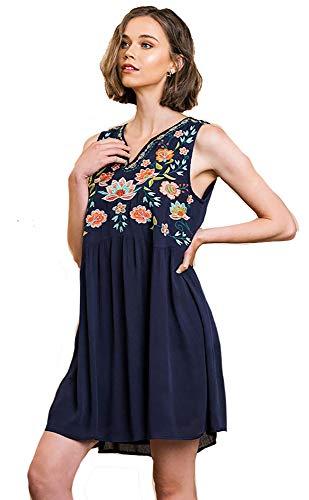 Umgee Boho Balmy! Gauze Embroidered Sleeveless Dress (Navy, Small) Bodice Border Print Dress