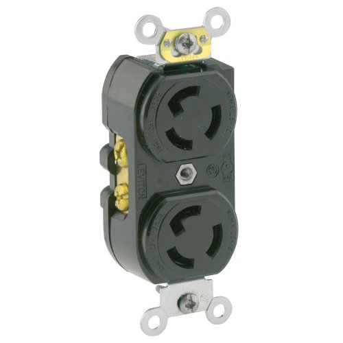 Leviton 4700 15 Amp, 125 Volt, NEMA L5-15R, 2P, 3W, Duplex Locking Receptacle, Industrial Grade, Grounding, Black, Common Feed Only