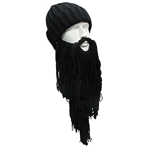764baf8e48c Flyou Adult Viking Beard Beanie Horn Hat Winter Warm Mask Hat Knitted Wool  Funny Skull Cap
