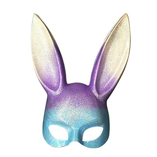 LUOEM Easter Bunny Mask Half Face Rabbit Mask Masquerade Mask Costume Accessory (Rainbow Glitter) -