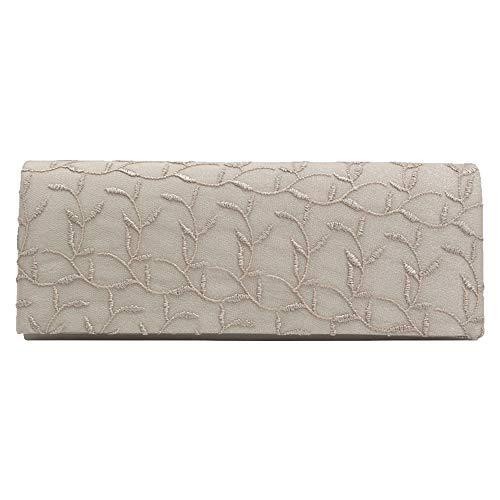 Wocharm Womens New Envelope Shape Lace Decorative Evening Party Handbag Clutches Apricot