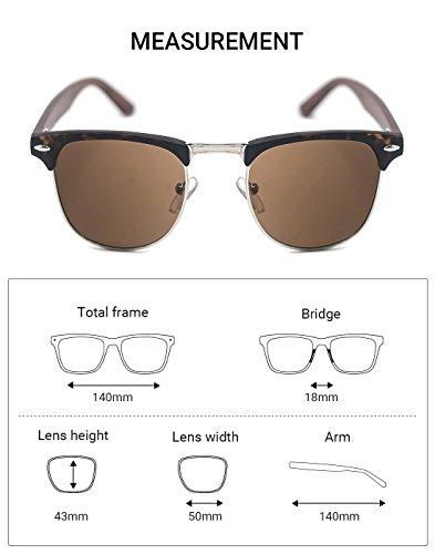 TIJN para Tortoise Brown de hombre Gafas sol Frame Lens z6Orzwq
