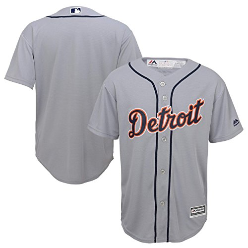 Detroit Tigers Word Mark Gray Youth Cool Base Road Jersey (Large 14/16)