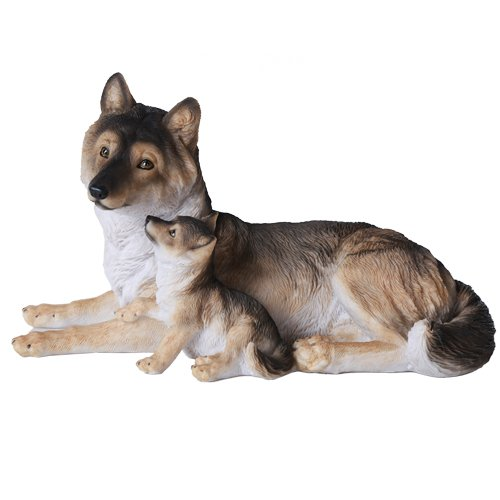 Pacific Giftware Grey Wolf with Pups Wildlife Collection Figurine Statue 9.5 inch Realistic Looking Collectible Home Decor ()