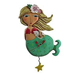 Allen Designs Shelley Mermaid Starfish Pendulum Wall Clock