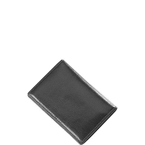 Clava Mens Wallet - Clava Glazed Leather Flap Over Card Holder (Glazed Italian Black)