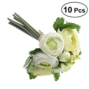 BESTOYARD 10pcs Artificial Flowers Camellia Bridal Wedding Bouquet Bridesmaid Bride Toss Bouquet Home Decoration (Green & White) 114