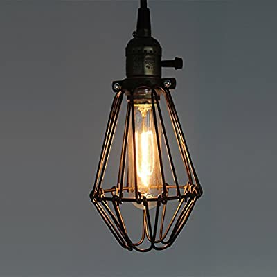 CLAXY Ecopower Industrial Opening and Closing Pendant Lighting Wire Cage Lamp Guard Fixture