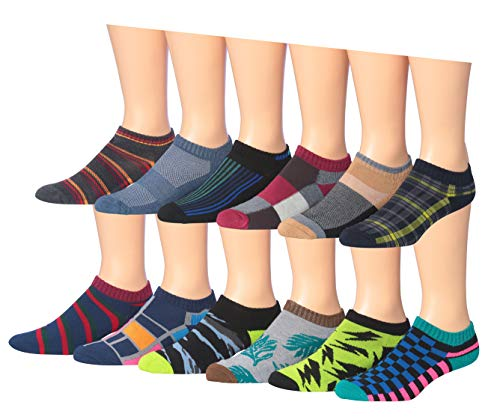 - James Fiallo Men's 12-Pairs Low Cut Athletic Sport Peformance Socks, (sock size 10-13) Fits shoe size 6-12, 2903-04