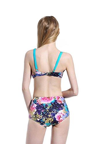 SZH YIBI La Sra división del bikini traje de baño de aguas termales Europa trajes de baño y la alta elasticidad Estados Unidos Slim de la protección del medio ambiente Blue