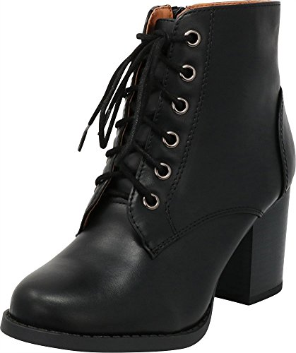Cambridge Select Women's Round Toe Lace-Up Chunky Stacked Block Heel Ankle Bootie,6 M US,Black Pu ()