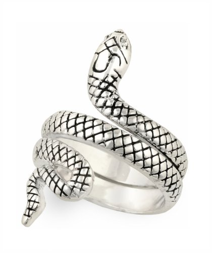 JanKuo Jewelry Rhodium Plated Antique Style Snake Cocktail Ring (6) ()