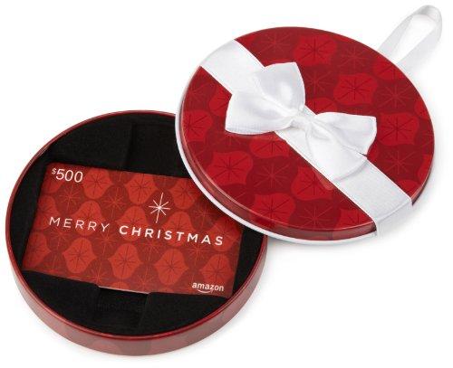 Amazon.com $500 Gift Card in a Red Ornament Tin (Merry Christmas Card Design) (Tin Christmas Santa)