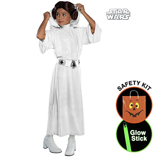 Girls Deluxe Princess Leia Costume Halloween Trick or Treat Safety Kit Small (Princess Leia Costumes For Kids)