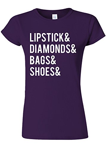 杖コメント季節Lipstick Diamonds Bags Shoes Shopping Novelty Purple Women T Shirt Top-XL