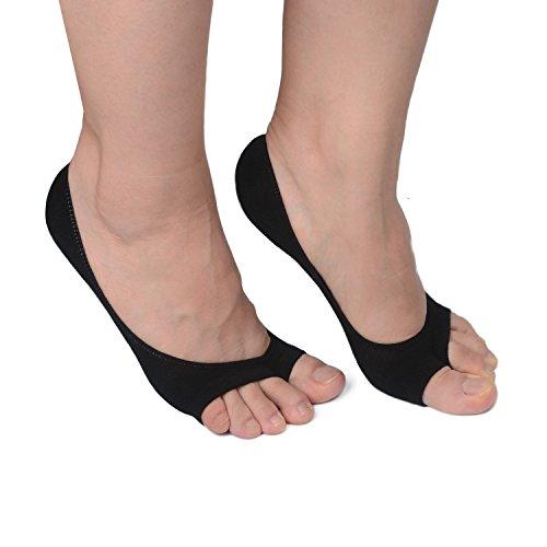 Black Peep Toe (Flammi 3 Pairs Women's Summer Peep Toe Socks Hidden Socks with Non-slip Heel Grip (Black))