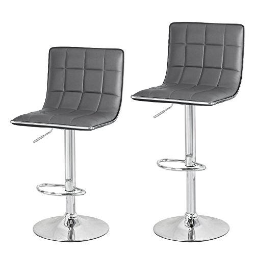 Joveco 2017 Contemporary 360 Degree Swivel Faux Leather Chrome Finish Adjustable Bar Stools, Set of 2 (Gray)