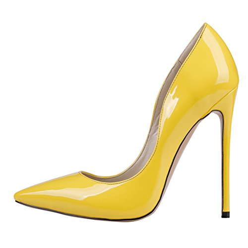 Merumote Femmes J-0531 Bout Pointu Mince Chaussures À Talons Hauts Parti Pompes De Mariage Nous 5.5-15 Jaune-brevet