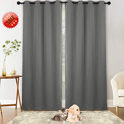NANAN Blackout Curtains,Thermal Insulated Grommet Blackout Curtain Panels Window Drapes for Living Room,Solid Room Darkening Energy Efficiency Window Treatment - W52 x L84 Inch,2 Panels, Dark Grey -