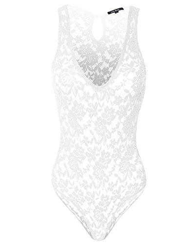 Juniors One Piece Floral Lace Babydoll Bodysuit White L ()