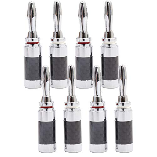 (Carbon Fiber Rhodium Plated Banana Connector for Speaker Cable (8PCS))