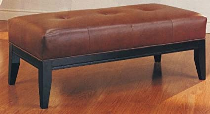 Marvelous Coffee Table Leather Bench Ottoman Top Grain Leather Button Tufted By Coaster Furniture Theyellowbook Wood Chair Design Ideas Theyellowbookinfo