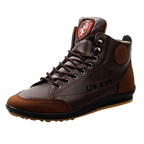 HOSOME Men Vintage Leather Boots British Style Shoes Sports Casual Shoes Coffee