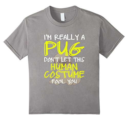 Kids FUNNY REALLY A PUG T-SHIRT Halloween Costume 4 Slate (Really Scary Halloween Costumes For Kids)