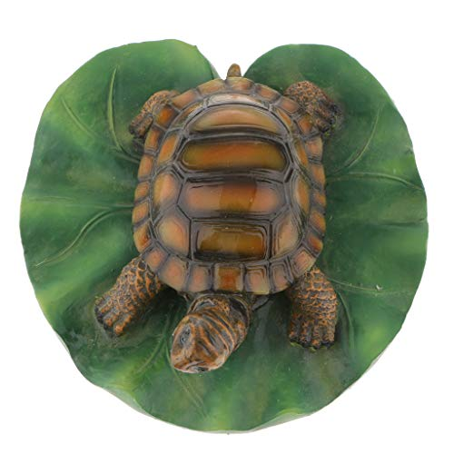 (Flameer 14 Options Water Floating Lotus Leaf Turtle Frog Ornament Sculpture Bathtub Toys Resin Animal Decoration for Garden Patio Pond Fountain Swimming Pool - 1 Light Brown Turtle, as described)