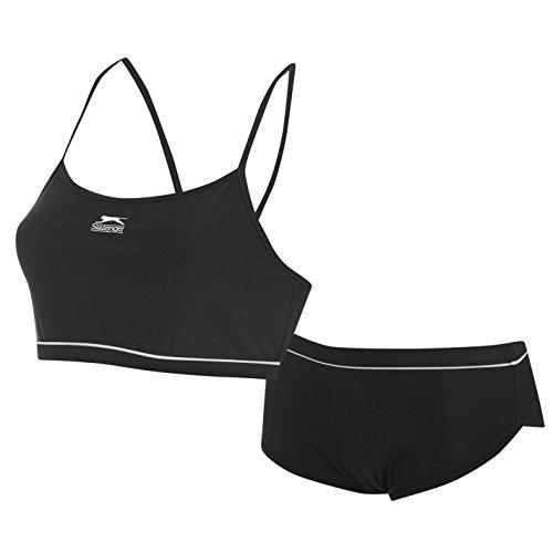 Slazenger Damen Sport Bikini Top Boxer Short Set Schwimmen Badeanzug Bademode Schwarz 10 (S)