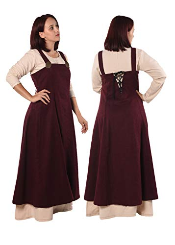 Anna - Medieval Viking Apron Overdress with Laced Back - Made in Turkey-BRG-XL/XXL Burgundy ()