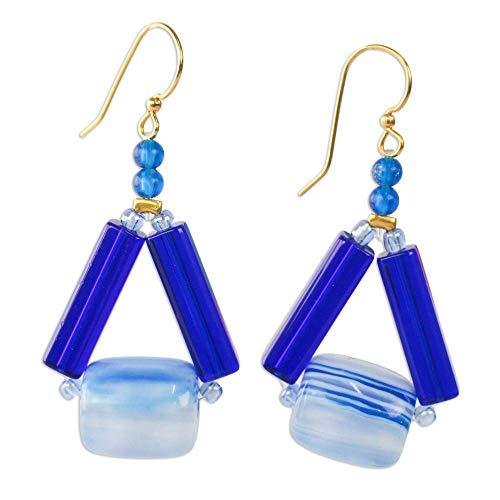 NOVICA Beaded Earrings, Eco Triangles in Blue'