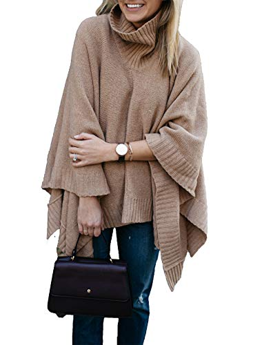 HZSONNE Women's Speckled Fringe Cardigan Tassel Asymmetrical Hem Shawl Heap Collar Casual Sweater Poncho (Khaki, One Size)