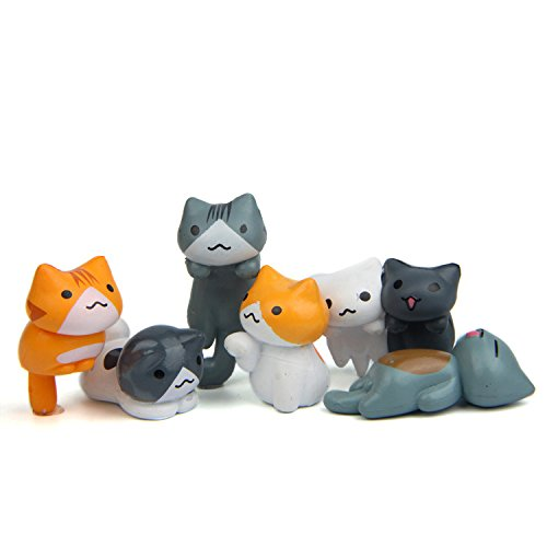 Mini Cat Kitty Dolls Fairy Garden MicroLandscape Figurine Ornament Decor for Terrarium Artificial Plant Flower 6PCS (Kitty Cat Figurine)