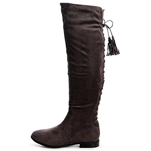 topschuhe24 1282 Damen Overknee Stiefel Boots Velours Grau