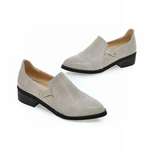 Carolbar Womens Bout Pointu Rétro Vintage Manchette Mode Bas Talon Chaussures Décontractées Gris