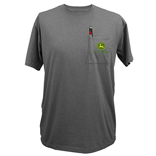 John Deere Classic Logo Charcoal Pocket T-Shirt-Large
