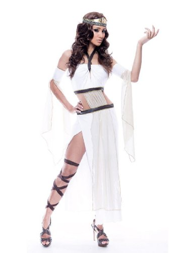 Paper Magic Womens French Kiss Grecian Goddess Costume, White/Brown, (Goddess Costume With Sleeves)