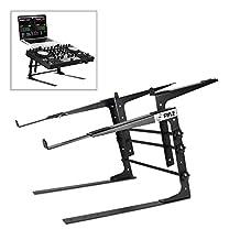 Pyle PLPTS38 Universal Dual Device Laptop Stand, Sound Equipment DJ Mixing Workstation