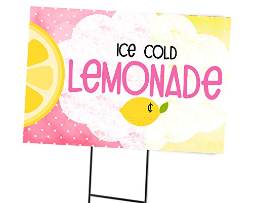 Silly Goose Gifts Fresh Lemonade Sign Old Fashioned for Your Lemonade Stand Banner (Pink)]()