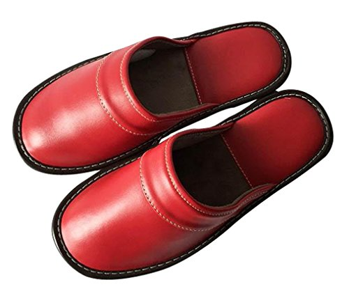 Cattior Kvinners Solid Skinn Tøfler Damer Slippers Red