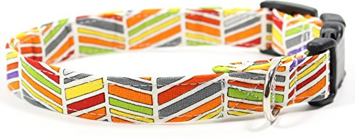 Ruff Roxy Brite Stripes Chevron, Tropic Summer Inspired Designer Cotton Dog Collar, Adjustable Handmade Fabric Collars (S) ()