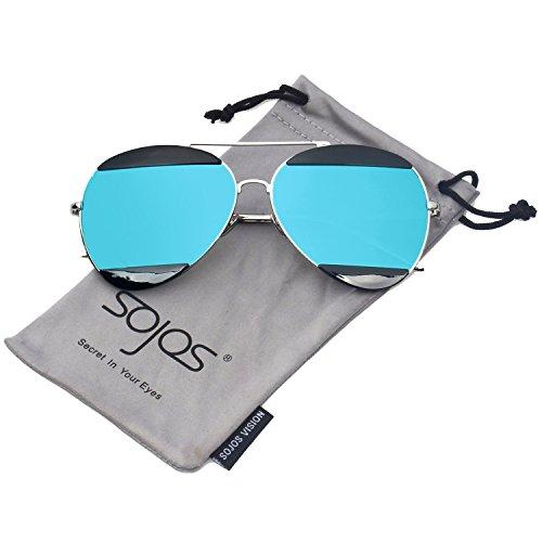 SOJOS Aviator Sunglasses for Men and Women Metal Frame Flash