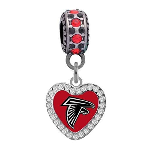 Atlanta Crystal Bracelets - Atlanta Falcons Crystal Heart Charm Fits Most Bracelet Lines Including Pandora, Chamilia, Troll, Biagi, Zable, Kera, Personality, Reflections, Silverado and More