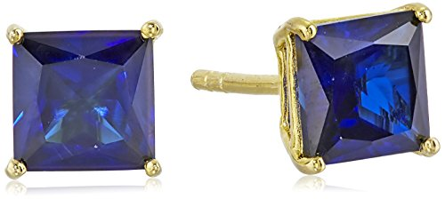 Blue Sapphire Collection - Sterling Silver Gold Plated with Created Blue Sapphire Stud Earrings