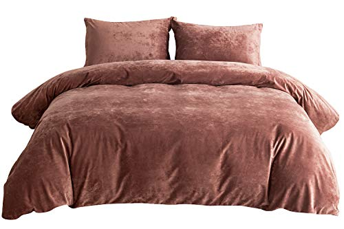 PHF Greek Velvet Duvet Cover Set 3 Pieces Heavyweight Warm for Winter Luxury Bedding Set King Size Burgundy