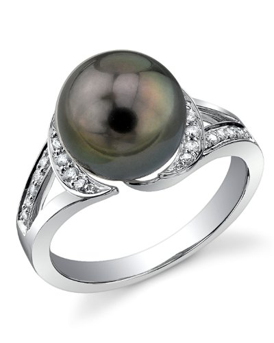 THE PEARL SOURCE 14K Gold 10-11mm Round Genuine Black Tahitian South Sea Cultured Pearl Diamond Penelope Ring for Women
