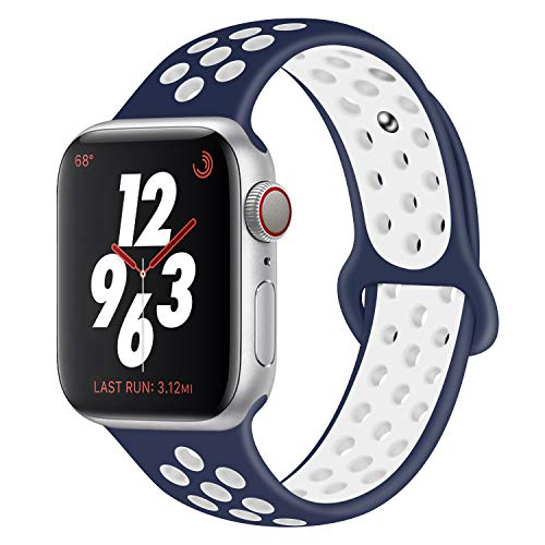 VODKE Sport Band Compatible with Apple Watch 38mm 40mm 42mm 44mm,Soft Silicone Bracelet Replacement Wristbands Compatible with Apple Watch Sport Series 4 Series 3 Series 2 Series - Series Sports Watch Gm