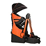 Clevr Deluxe Baby Toddler Backpack Cross Country Lightweight Carrier with Stand Child Kid Sun Shade Visor, Orange, Upgraded foot straps