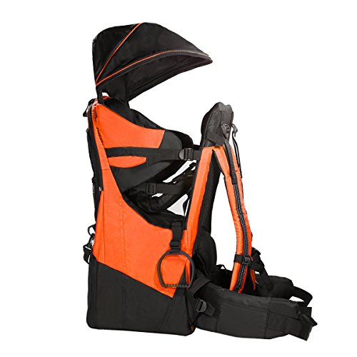 Clevr Deluxe Baby Backpack Hiking Toddler Child Carrier Lightweight with Stand & Sun Shade Visor, Orange | 1 Year Limited Warranty
